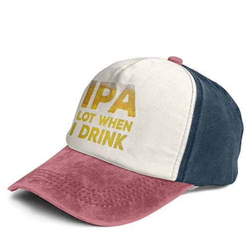 Fashion Vintage Hat IPA Lot When I Drink Adjustable Dad Hat Baseball Cowboy Cap Navy and Red