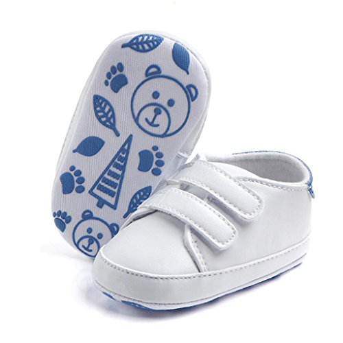 Chaussures bébé,Xinan Chaussures Garçon Fille Cuir Souple Chaussures Antidérapant 3 Couleurs (Bleu, 9-12M)