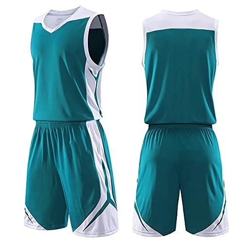 Juego de baloncesto para hombre y niños, uniformes, trajes deportivos, tallas grandes, camisetas de baloncesto personalizadas, trajes de entrenamiento juvenil, para verano, color verde, talla XXL)