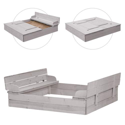 roba Bac à sable avec couvercle rabattable pour 2 bancs, bois massif, résistant aux intempéries, gris, 21,5 x 127 x 123,5 cm