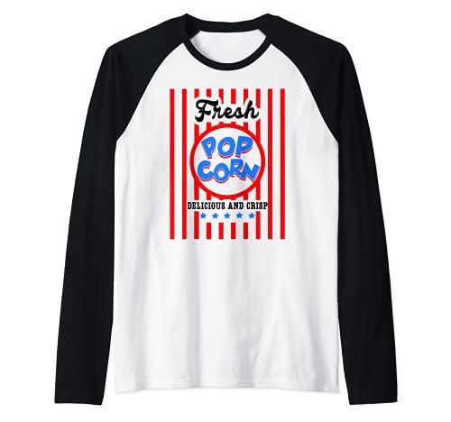 Camiseta de palomitas de maz fresco disfraz de POPCORN para Halloween Camiseta Manga Raglan