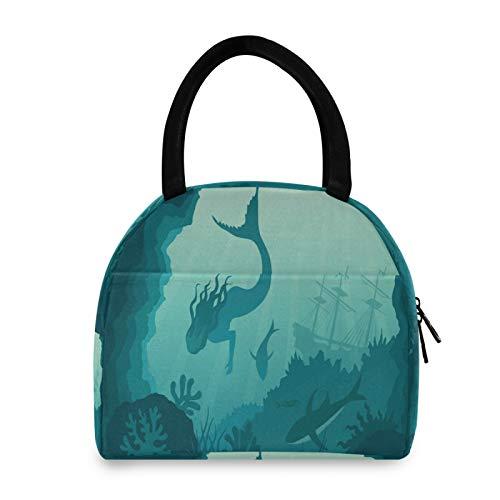 FELIZM - Bolsas de almuerzo reutilizables con aislamiento de coral y sirena, para oficina, escuela, picnic, viajes al aire libre