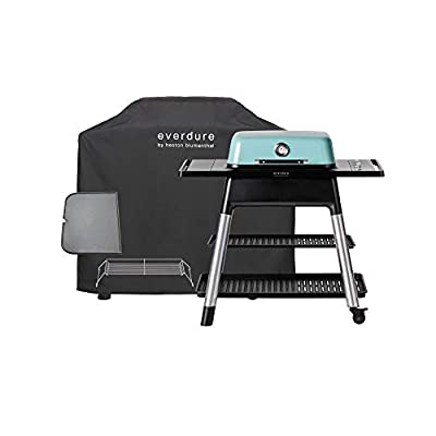 Everdure Force by Heston Blumenthal 2-Burner Liquid Portable Propane Gas Grill, Cover and Accessory Bundle: Die-Cast Aluminum Body, Mint
