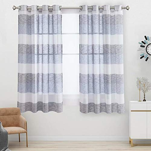 Aloft Striped Sheer Curtains for Bedroom - Linen Look Color Block Semi Sheer Drapes 63 inches Long Grommet Voile Window Curtain for Farmhouse and Living Room, Navy, 58x63, 2 Panels