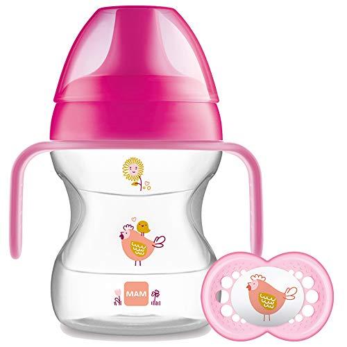 """MAM Trinkbecher """"Learn To Drink"""", für Babys, mit Schnuller, ab 6Monaten, 190ml, DC1402G, Rose"""