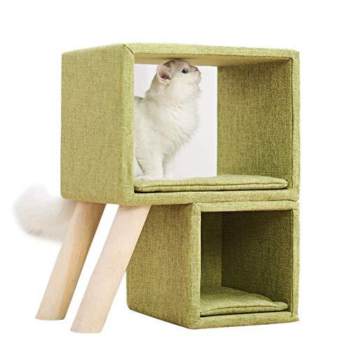 Nido para gatos de madera, cojín mullido, duradero, 2 plataformas, material natural, estilo simple, SLONGS