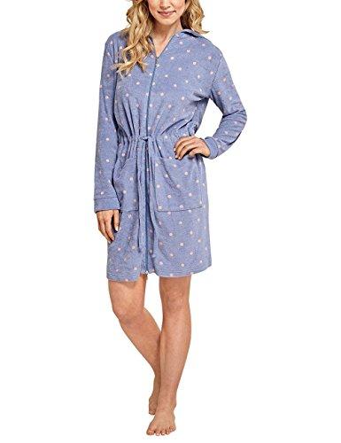 Schiesser Damen Selected Premium, 95cm Bademantel, Blau (Jeansblau 816), 42 (Herstellergröße: 042)
