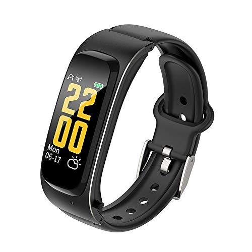 LHTCZZB Tecnología negra Pulsera inteligente Pantalla táctil completa Reloj Bluetooth Fitness Tracker Monitoreo de ritmo cardíaco Monitoreo Modo deportivo Batería larga batería Batería adecuada para h