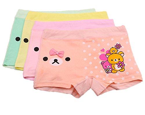 FAIRYRAIN FAIRYRAIN 4 Packung Baby Kleinkind Mädchen Bär Bowknot Pantys Hipster Shorts Spitze Baumwollunterhosen Unterwäsche 2-4 Jahre