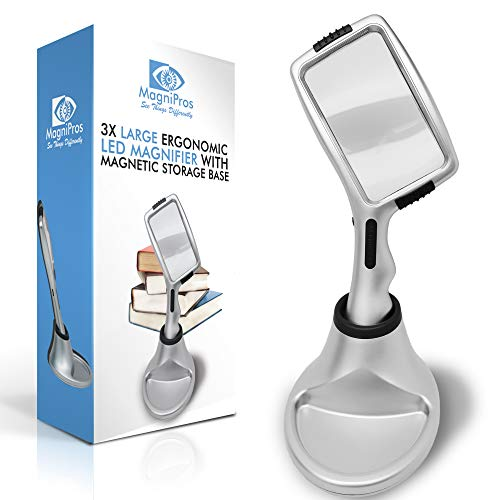 Large 3X Magnifying Glass with 10 Ultra Bright & [Dimmable] LED Lights+ Magnetic Base to Store Magnifier at Ease- Brightest & Best Magnifier with Lights for Reading, Aging Eyes, Seniors