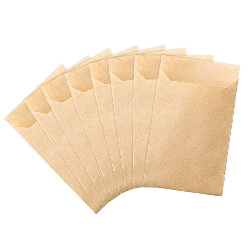 100 kleine Mini Papier-Geschenktüten in braun - 6,5x9 cm - Tolle Verwendung für Freudentränen als Taschentuchhalter zur Hochzeit, als Tüten für Blumensamen zum Verschenken, Schmucktüten & Gastgeschenk