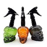 3Pcs Empty Spray Bottle 200ml/7oz Fine Mist Sprayer Retro Skull Design Plastic Refillable Spray Squirt Bottle for Hair Styling Cleaning Plants