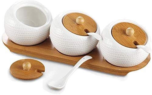 DUDDP Storage Spice lar set Modern Design Porcelain Jar Bamboo Lid,Ceramic Serving Spoon, Bamboo Tray Perfect Canister for Sugar Bowl Serving Tea, Coffee, Spice Best Pottery Cruet Pot for Your Home, K