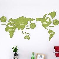 壁掛け時計 掛け時計 世界 地図、世界地図壁掛け時計大型モダンデザイン、装飾的な壁時計電池式非カチカチ音をたてる、DIYウォールクロック世界地図ラージモダン木製クォーツ3Dパズル時計、137X63cm,Green02