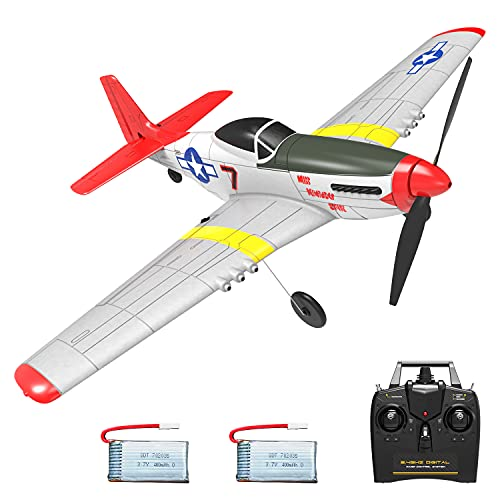VOLANTEXRC RC Airplane 4-CH Remote Control Aircraft Ready to Fly P51 Mustang Radio Controlled Plane for Beginners with Xpilot Stabilization System, One Key Aerobatic (761-5 RTF)