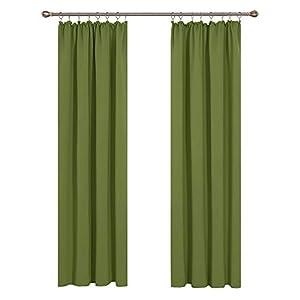 Deconovo Cortinas Salon Modernas Aislantes Térmicas Funcional Estilo Elegante con Doradillas 2 Piezas 140x245cm Verde