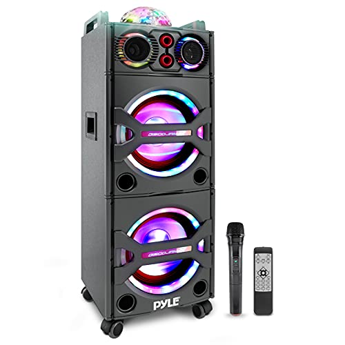 Pyle Portable Bluetooth PA Speaker System - 2000W Active powered Outdoor Bluetooth Speaker Portable PA System w/ Microphone In, Party Lights, USB SD Card Reader, AUX/RCA/FM Radio, Wheels - PSUFM1043BT