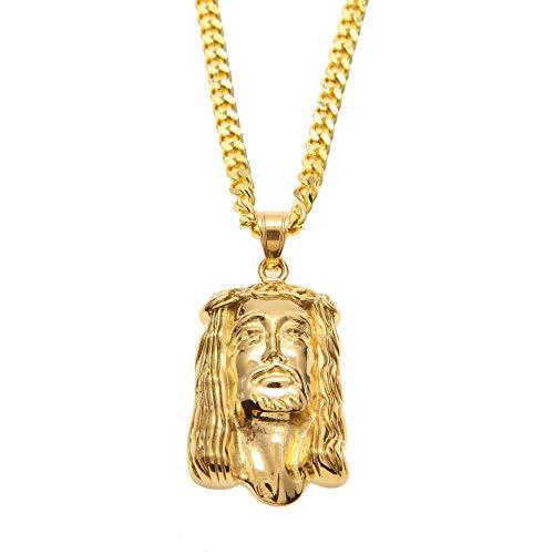 Hip Hop Jesus Piece Collares Pendientes Color Dorado para Mujeres Y Hombres Joyería Cristiana Jesus Head Sculpture Joyería Encantadora