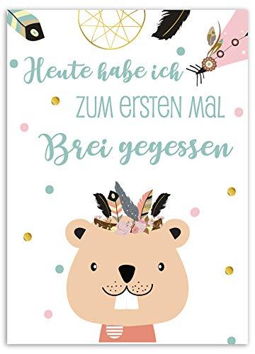JoliCoon 40 Meilensteinkarten Baby im Boho Design, Baby Meilenstein Karten, Milestone Baby Cards