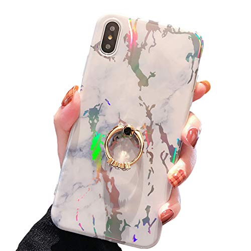 SGVAHY Funda para iPhone XR Marmor Ultra Delgada Suave Silicona Brillante con Anillo de Diamon Resistente a Golpes iPhone XR Blanco