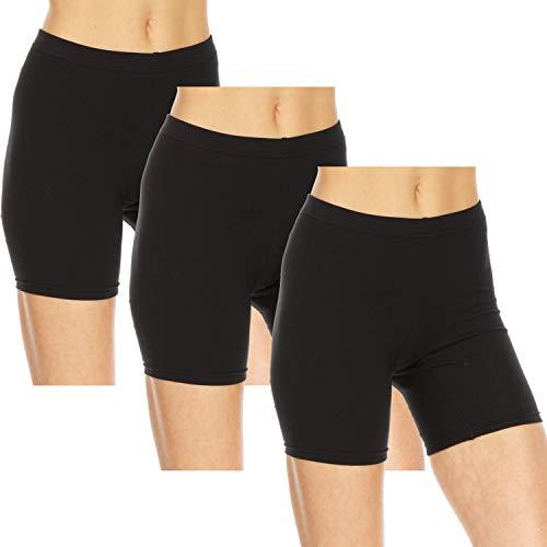Essential Elements 3 Pack: Cotton Biker Shorts for Women - Stretch Bike Slip Yoga Exercise Undergarment Boxer Boy Shorts (Medium, Black)