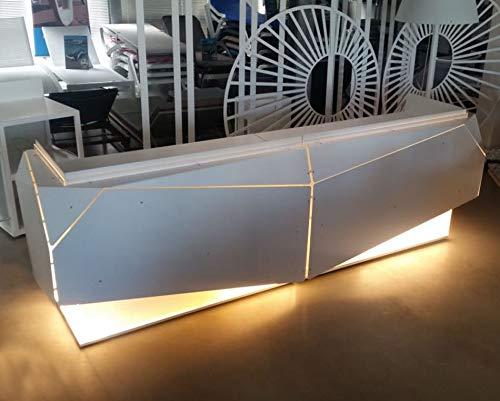 Origami JM Double • Bancone Reception Negozio • Workstation Desk ufficio. In alluminio con illuminazione LED