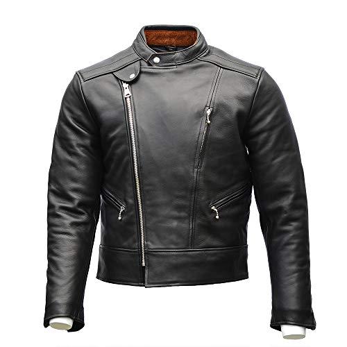 Goldtop '75 Lancer - Chaqueta de piel para motocicleta, color negro, con protección CE Knox Microlock, calidad premium, estilo clásico