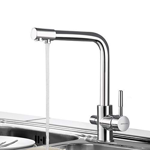 3-weg waterkraan waterfilter keukenkraan hendel 3-in-1 mengkraan 360 ° draaibare armatuur voor keuken gootsteen gootsteen kraan, chroom Waterfilter waterkraan 3-weg drinkkraan.