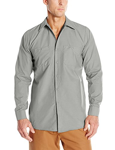 Red Kap Men's Industrial Work Shirt, Regular Fit, Long Sleeve, Light Grey, X-Large