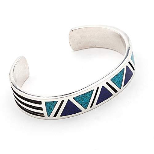 Indianerschmuck Armreif Navajo Design Türkis Lapis Chip Inlay 925 Sterling Silber Westernschmuck