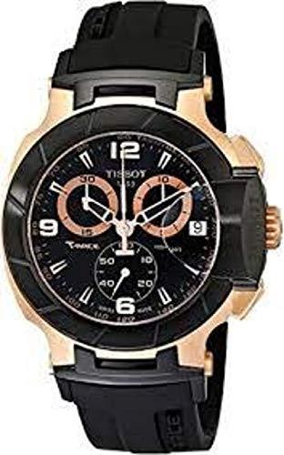 Nueva T-Race oro rosa cronógrafo goma Mens Reloj T0484172705706negro