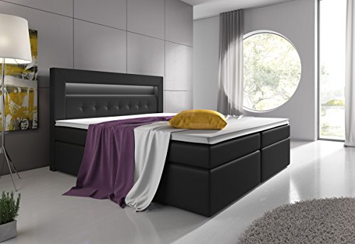 Boxspringbett 180×200 Schwarz mit Bettkasten LED Kopflicht Hotelbett Venedig Lift - 2
