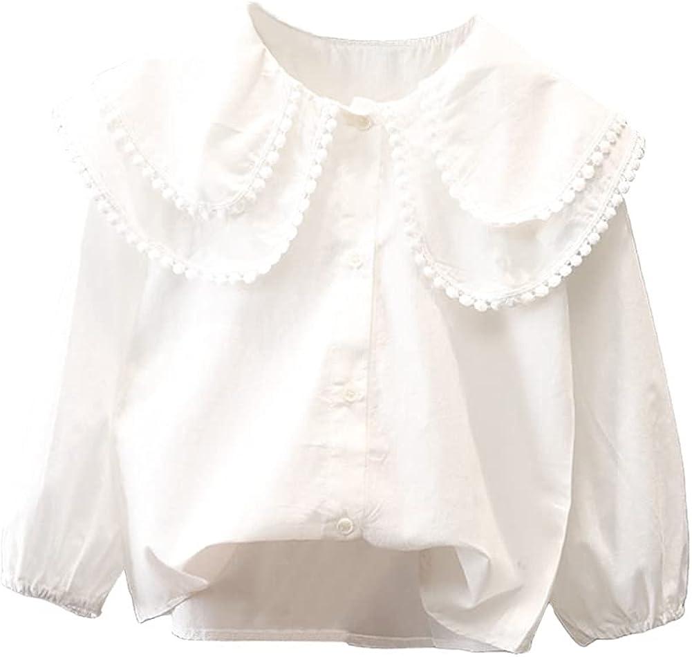 LittleSpring Girls Button Down Blouse Long Sleeve Peter Pan Collar Casual Loose Tops