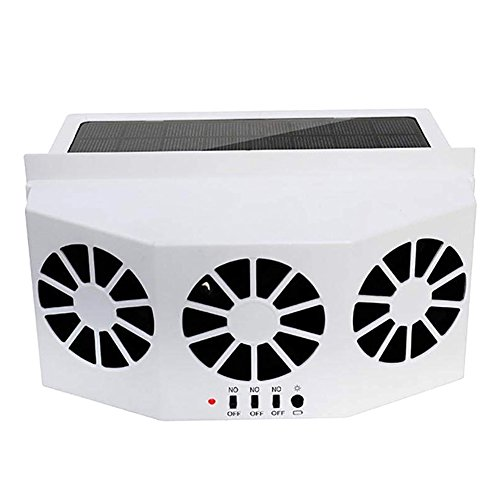 Alftek Solarbetriebene Autofenster Air Vent Ventilator Drei-Köpfige Fan Clear Auto riechen Elektrogeräte