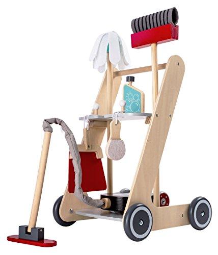 Bayer Chic 2000 277 01 Reinigungswagen für Kinder, Putzwagen aus Holz, Besenwagen mit Staubsauger und Zubehör, bunt