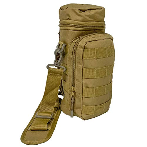 Pathfinder Outdoor Portable Water Bottle Carry Bag with Adjustable Strap and Shoulder Pad for Hiking, Camping, Hunting, and the Classroom, Coyote Tan
