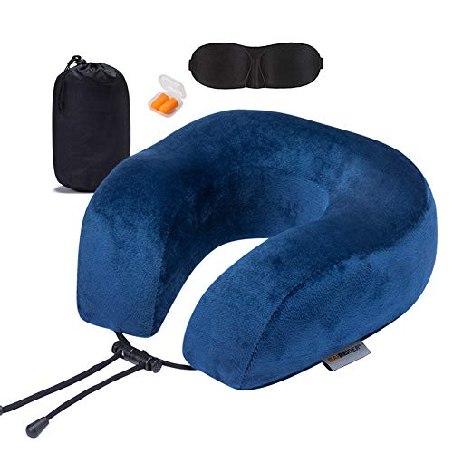 SAIREIDER Travel Pillow 100% Memory Foam Airplanes Neck Pillows -Prevent The Heads from Falling Forward Travel Neck Pillows with Sleep Mask and Earplugs (Navy Blue)