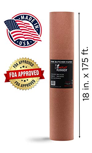 Pink Butcher BBQ Paper Roll (18 Inch by 175 Feet) Food Grade Peach Wrapping Paper for Smoking Beef Brisket Meat Texas Style, All Natural and Unbleached