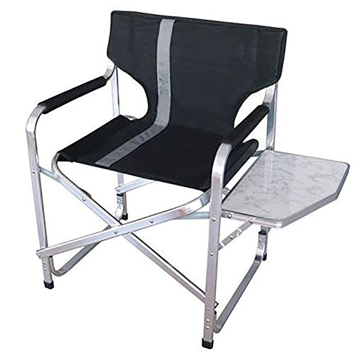 SHARESUN Outdoor opvouwbare campingstoel, aluminium legering bijzettafel draagbare rugleuning visstoel, draaggewicht 90kg, voor strand tuin picknick schets huis, 86X52XH80CM, zwart