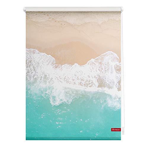 Lichtblick KRT.090.150.410 Rollo Klemmfix, ohne Bohren, Blickdicht, The Beach - Türkis Beige 90 cm x 150 cm (B x L)