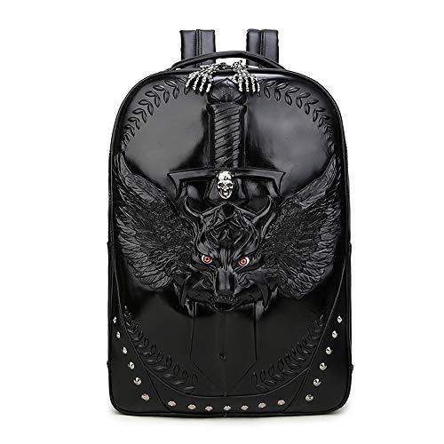 Zaino Per Laptop Wolf Series Pattern Pack Impermeabile Viaggio All'aperto,black