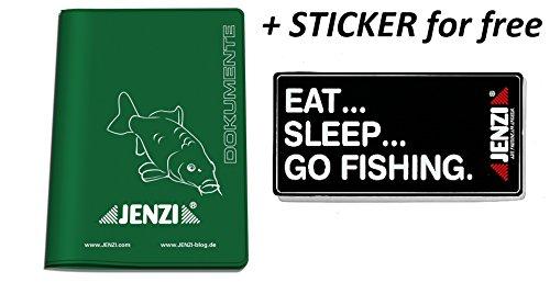 Jenzi Fischereischein - Ausweismappe + gratis Aufkleber eat Sleep go fisching