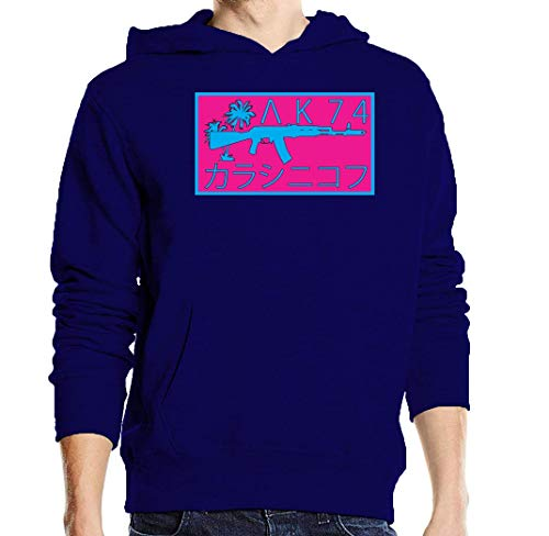 Vaporwave Aesthetic AK 47 Styled Poster Logo Blue Unisex Pullover Hoodie L