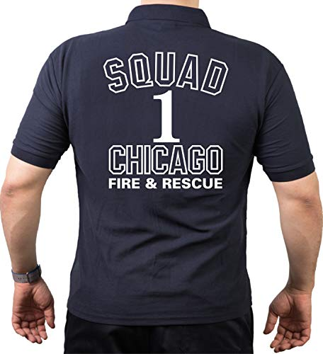 feuer1 Polo bleu marine Chicago Fire Department Squad Co. 1\