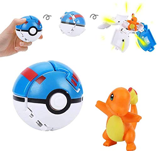 su ma Poké Bolas Pokéball, Pokemon Figuras with Throw Pop Poké Ball Toy Set para Niños y Adultos Celebración de Fiestas Divertido Juego de Juguete de Regalo (Charmander)