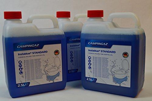 3 Kanister CAMPINGAZ a 2,5L (Gesamtmenge: 7,5L) Instablue® Standard Sanitärflüssigkeit für Chemietoiletten Toilette Chemietoilette Toiletten Camping Wohnwagen Wohnmobil