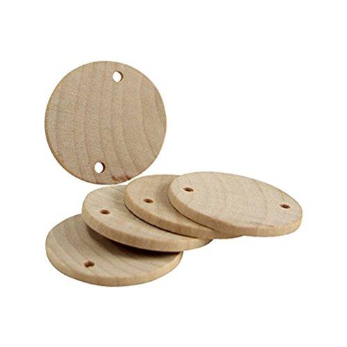ultnice 60pcs rodajas de madera LOG discos DIY piezas de madera redondo con agujero para mesa (proyectos de manualidades 3,8cm