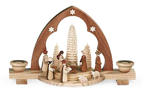 Müller German candle arch Nativity scene with manger, length 30 cm / 12 inch, natural, original Erzgebirge by Mueller Seiffen MU 12314