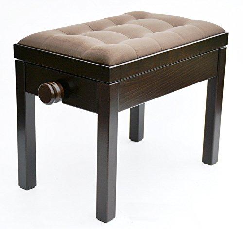 KX Music Klavier-Sitzbank in dunkelbraun (Palisander), Klaviersitz aus braunem Stoff (Velours) 56 x 35 cm, höhenverstellbare Pianobank 47-56 cm, stabiler Klavierstuhl, Modell: S-plus 01.13.22