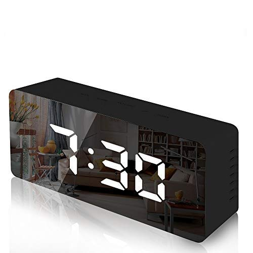 Trongle Reloj Despertador con Espejo Digital con Pantalla LED de Temperatura, Tiempo de repetición, Brillo Ajustable, USB y Funciona con Pilas para Dormitorio, Oficina, Negro(Nueva versión)